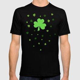 Happy St. Patrick's Day Shamrock Pattern on light green T-shirt