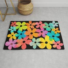Hawaiian Holiday - Bright Textured Flowers on Black (pattern) Rug