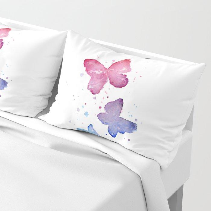 Butterflies Watercolor Abstract Splatters Pillow Sham