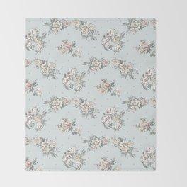 Pastel blue brown pink vintage roses polka dots pattern Throw Blanket