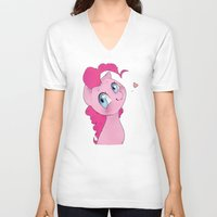 mlp V-neck T-shirts featuring Pinkie Pie MLP Cuteness by oouichi