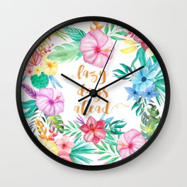 Lazy Days Ahead Floral Watercolor Collage Pattern Wall Clock