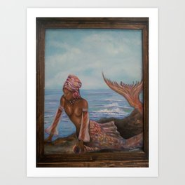 Lovely African Mermaid Art Print