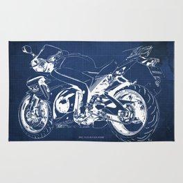 Suzuki motorcycle blueprint, white line, blue vintage background Rug