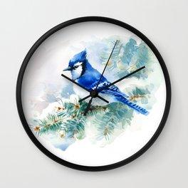 Watercolor Blue Jay Wall Clock