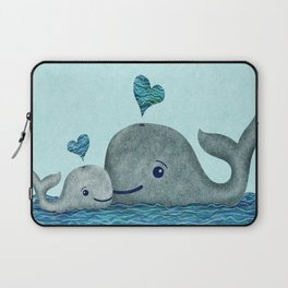 Whale Mom and Baby with Hearts in Gray and Turquoise Laptop Sleeve