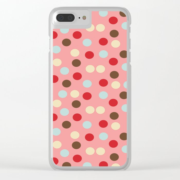 Christmas dots pink Clear iPhone Case