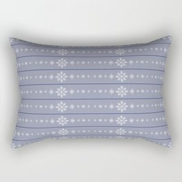 Snowflake Stripes Blue Rectangular Pillow