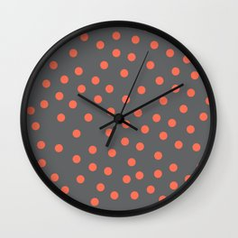 Simply Dots Deep Coral on Storm Gray Wall Clock