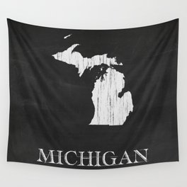 Michigan State Map Chalk Drawing Wall Tapestry