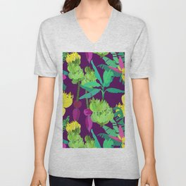 Banana Bunches in Dark Orchid Unisex V-Neck