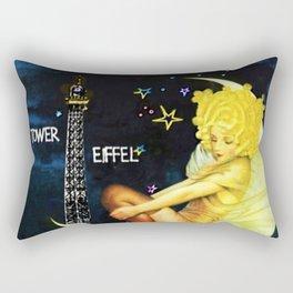 Vintage Paris La Nuit Ville Des Folies Eiffel Tower and Moon Advertising Poster Rectangular Pillow