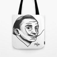 dali Tote Bags featuring Dali by @VEIGATATTOOER