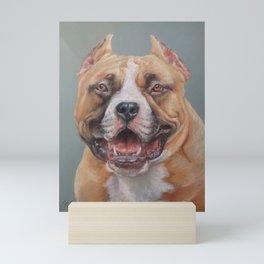 Happy Dog SMILING AMSTAFF FACE Cute pet portrait Pastel drawing Decor for Dog lover Mini Art Print