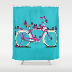 Butterfly Bicycle Shower Curtain