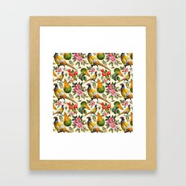 Vintage pink orange yellow ivory watercolor birds roses floral Framed Art Print