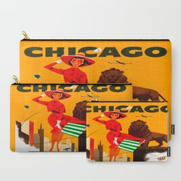 Vintage Chicago Illinois Travel Carry-All Pouch