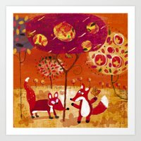 foxes Art Prints featuring foxes  by Marianna Jagoda