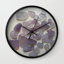 Genuine Purple Sea Glass Collection Wall Clock