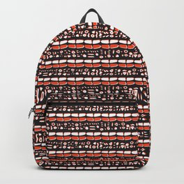 Trendy Brick Red Abstract Drawn Cryptic Symbols Backpack