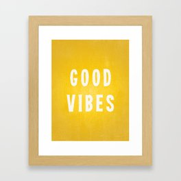 Sunny Yellow and White Distressed Effect Good Vibes Framed Art Print