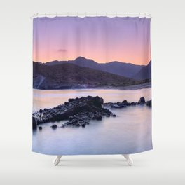 Half Moon Beach. Purple Sunset At The Mountains Shower Curtain