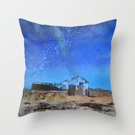 Farmhouse with Northern Lights Throw Pillow