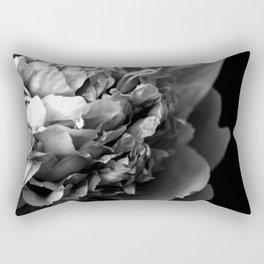 Black and White Summer Peony Rectangular Pillow