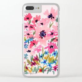 Peachy Wildflowers Clear iPhone Case
