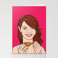 emma stone Stationery Cards featuring Emma Stone With Fried Chicken by Jason Adams