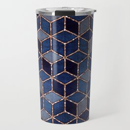 Shades Of Purple & Blue Cubes Pattern Travel Mug