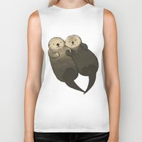 otters Biker Tanks featuring Significant Otters - Otters Holding Hands by StudioMarimo