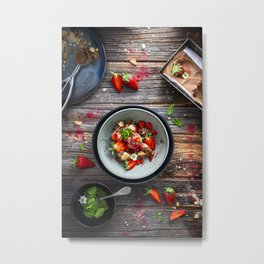 Homemade chocolate mousse ice cream with fresh strawberries Metal Print