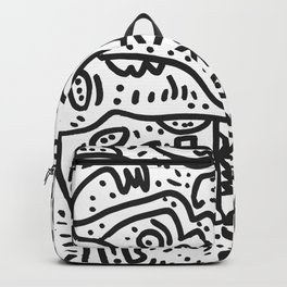 Cool Graffiti Art Doodle Black and White Monsters Scene Backpack