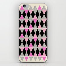 Triangles and lines (pink & grey) iPhone Skin