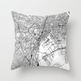 Tokyo White Map Throw Pillow