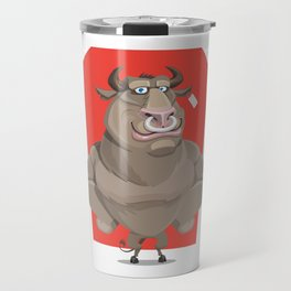 Angry Bull with Nose Piercing Vector Artwork Travel Mug