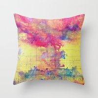 maps Throw Pillows featuring maps by Emily Tumen