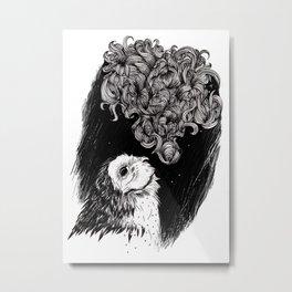 Owl Smoke Metal Print