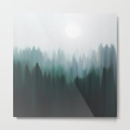 Autumn Fog | Green Edition Metal Print