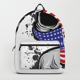 It's A Unique Design Of A Braincase Skull With An American Flag Scarf On T-shirt Design Gray Tones Backpack