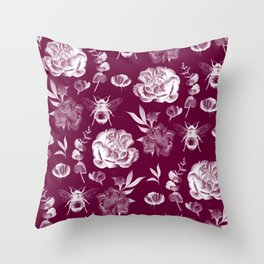 Floral rose pattern Throw Pillow