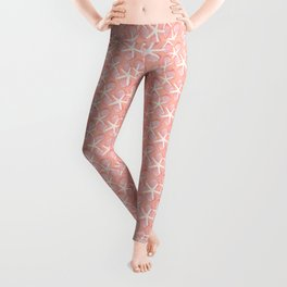 Sea Scallops & Starfish in Peach, White & Pink Tones Leggings