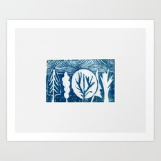 linocut trees print Art Print