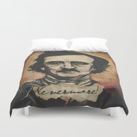 poe Duvet Covers featuring Poe by Colunga-Art