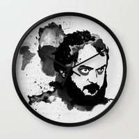 stanley kubrick Wall Clocks featuring Stanley Kubrick by Kongoriver