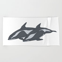 Hourglass Dolphins Beach Towel
