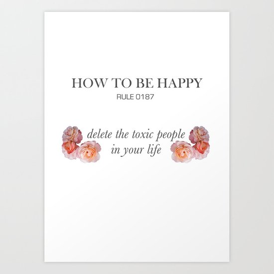 Rules of happiness Art Print