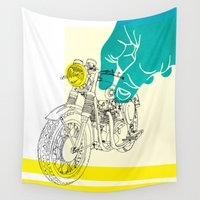 moto Wall Tapestries featuring Vintage BSA Super Rocket Motorcycle Art Print by Matylda Mcilvenny