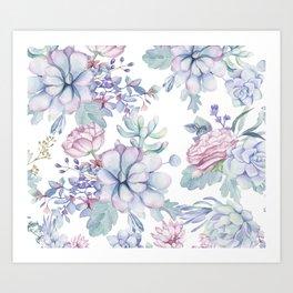 Pretty Blue Pink Succulents Garden Art Print